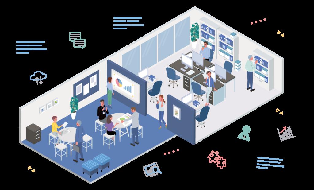 事業所における未来型オフィスのイメージ図